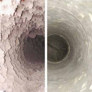 Poistoilmakanava ennen ja jälkeen puhdistuksen